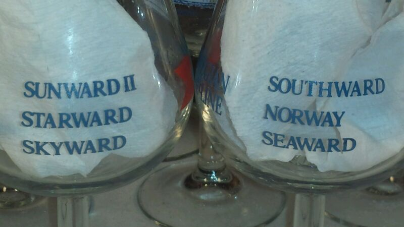 Vintage NORWEGIAN CRUISE LINES Wine Tulip Glass with Ship Names Set of 2