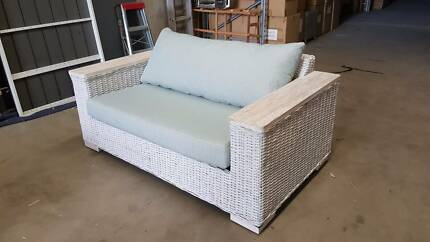 ATLANTA KUBU 2 SEATER WITH TEAK BEACH WASH ARMS