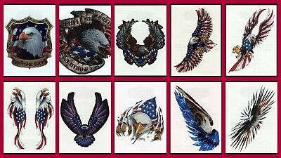 PATRIOTIC BALD EAGLE USA AMERICAN FLAG 4TH OF JULY WATERPROOF TEMPORARY