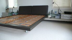 Italian King size Leather bed with side tables (9 pce suite) Hunters Hill Hunters Hill Area Preview