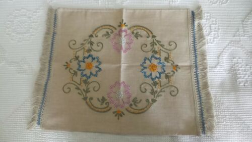 Antique, Early Linen Satin Embroidered  PILLOW COVER Floral, Fringed