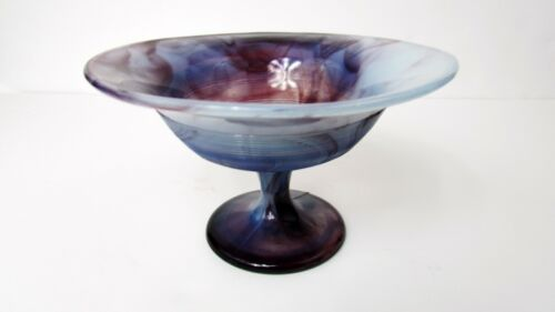Northwood Purple Slag Glass  THREADS Compote / Footed Bowl Candy Dish