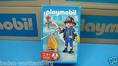 Playmobil 5796 firefighter series rescue Fire Chief mint in Box geobra toy venta