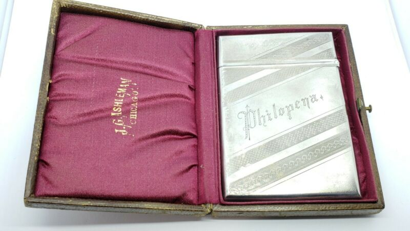 Antique 1852-1865 GORHAM Sterling Silver Calling Card Case In Box