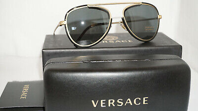 Versace New Sunglasses Gold Black Gray VE2193 142887 56 140