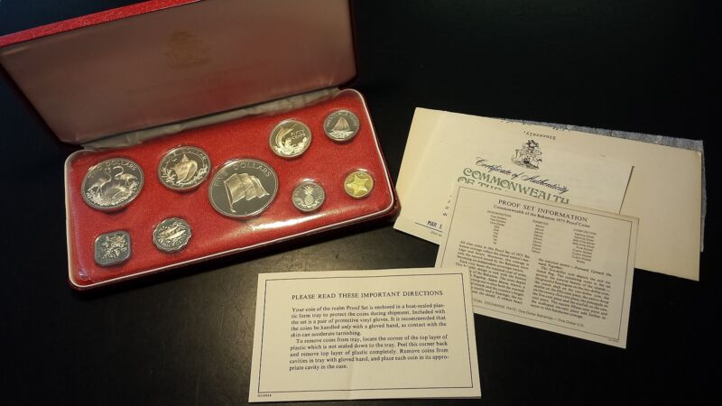 Bahamas 1975 Sterling Silver Proof Set Minted at the Franklin Mint