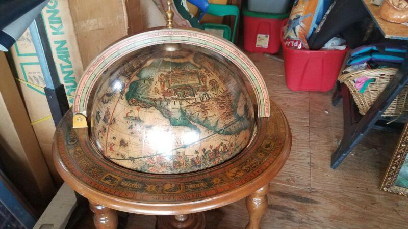 Vintage world globe bar cart