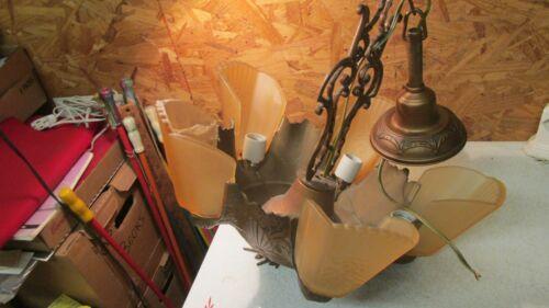 Antique Art Deco Slip Shade Fixture & Shades  No.