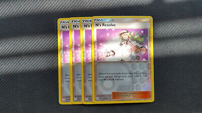 Pokemon: 4x N's Resolve 200/236 Reverse Holo Cosmic Eclipse