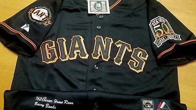 82ea5686 Brand New SF GIANTS #25 Barry Bonds Dual patches sewn Majestic Jersey BLACK  LG