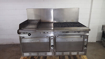 Vulcan Range 4 Burner 2 Full Size Ovens 16x27 Skillet 17x24 Hot Plate Tested Gas