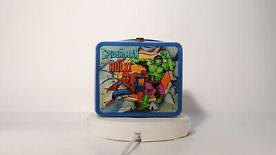 1980 Aladdin Thermos Spiderman Captain America Hulk Lunch Box Kit Bottle Collect