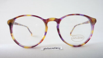 Plastic Frame Glasses for Small Face Unisex Brown-Purple round (Frames For Round Faces)