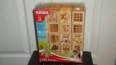 ABC BLOCKS-WOODEN CUBE, 40 PCS BY PLAYSKOOL-HASBRO-EDUCATIONAL LEARNING, NEW