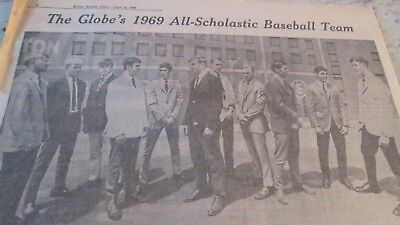 Boston Globe Sports Section June 15 1969  All Scholastic Baseball Dick Jauron