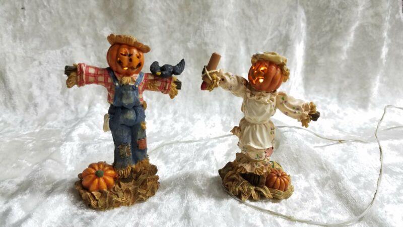 Dept 56 Snow Village Halloween - Lighted Halloween Scarecrows #53061 -EUC Tested