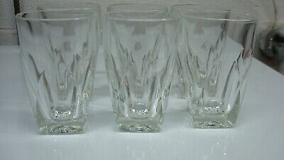 Six Hazel Atlas Double Old Fashioned Glasses Square Bottom Tumblers 5