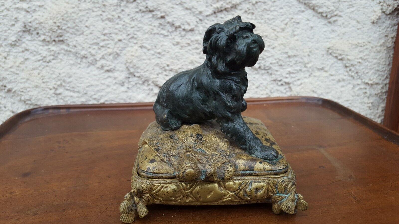 Statue d'un chien bull-terrier coffret en bronze