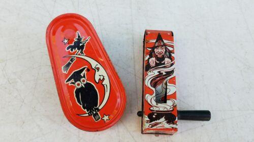 Vintage 1950s Halloween Tin Litho US Metal Toy Kirchhof Ratchet Noisemakers