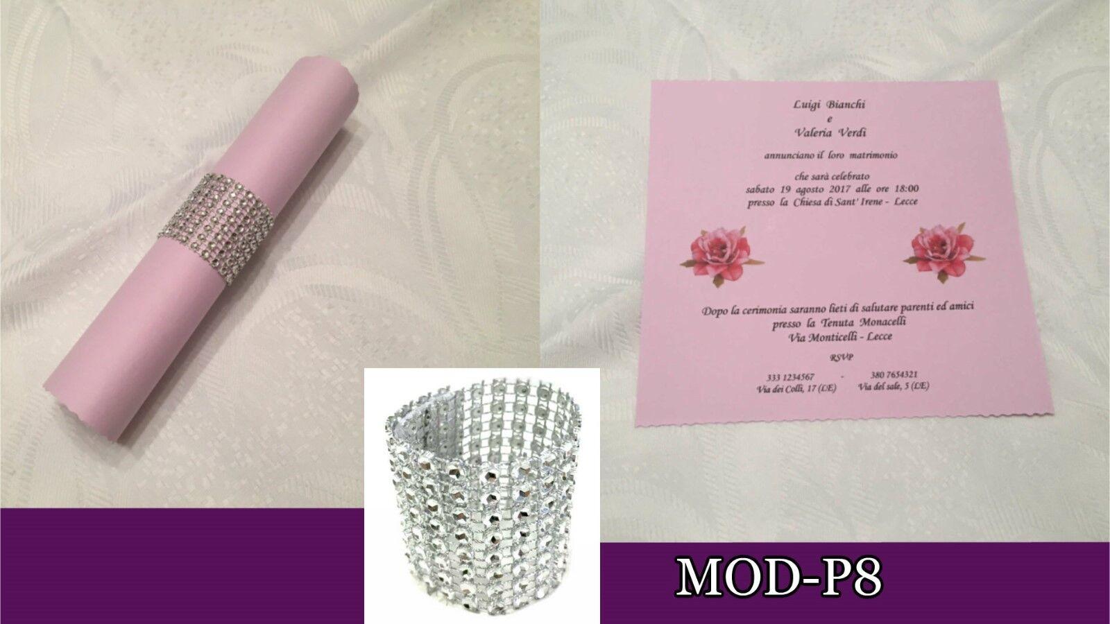 Partecipazioni Matrimonio inviti Nozze, fatte a mano, MOD-P8 lilla rotolo strass