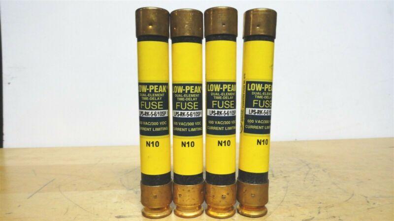 (4) - BUSSMANN - LPS-RK-5-6/10SP - Low Peak Time Delay Fuse 600vac/300vdc (NEW)