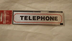 self adhesive door sticker brush metal effect telephone sign stick on 17 x 4cm ebay. Black Bedroom Furniture Sets. Home Design Ideas