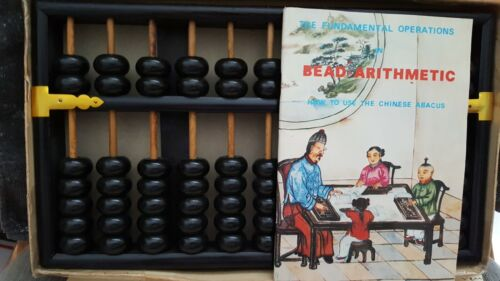 Vintage Chinese Wooden Abacus Lotus Flower Brand with Inst Book 11 Rods 77 Beads