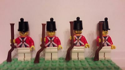 Lot of 4 LEGO U.S. Revolutionary War Redcoat Infantry Minifigures (Lot 1A111)