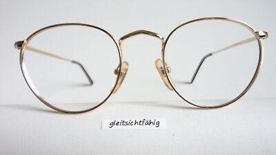 Intellektuellenbrille Brillen Metallfassung gold rund Pantoform Oberlehrer Gr. S