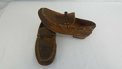 Frye Brown Distressed  Loafers Driving Mocs Slip on Shoes  Men's Size 9M