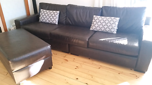 Large 7 seater leather look sofas with footstools Seaview Downs Marion Area Preview