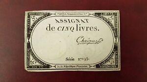 B-D-M-Francia-France-5-Livres-Assignat-1793-Pick-A76-Sign-Chaignet