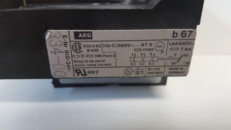 GUARANTEED GOOD USED! AEG 600V THERMAL OVERLOAD RELAY E-NR 910-341-334-00