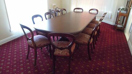 DINING ROOM TABLE AND 12 CHAIRS