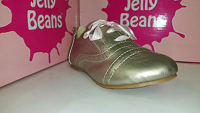 Jelly Beans Oper Girls Shoes Black / Gold / Silver Lace Up Size 9-4 - Black Jelly Beans