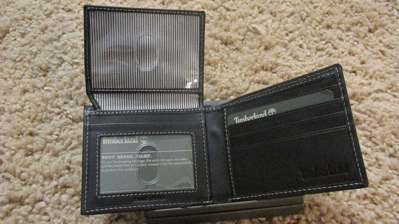 TIMBERLAND Men Genuine Leather Passcase Bifold WALLET NIB Black free shipping