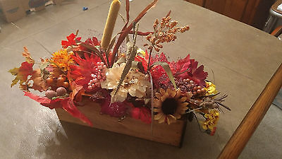 - Fall Floral Arrangement,   Centerpiece,  In an Antique Sewing drawer holiday