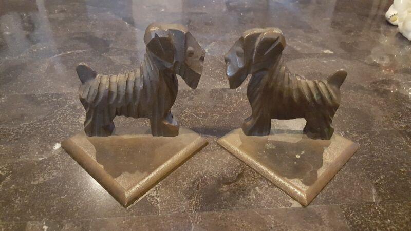 Vintage Bookends Dog Terrier Sealyham Brass