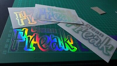 Clean Freak Silver Hologram Neo Chrome Stickers Decals Funny JDM EURO Scene