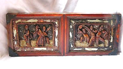 Купить ANTIQUE CHINESE WOOD HAND CARVED FURNITURE ELEMENT,PLAQUE,OF A  PEOPLE DANCING