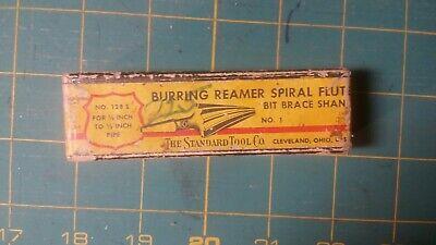 Vintage Standard Tool Co Burring Reamer Spiral Flutes Bit Brace Original Box