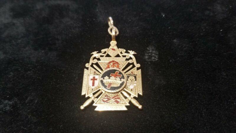 14K Gold Two-Sided Masonic York Rite Pendant Fob