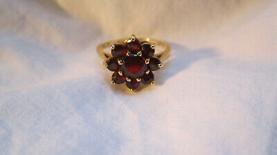 NICE 14K BOHEMIAN GARNET RING  BEAUTIFUL DESIGN   3.2 GRAMS  sz 6 SEE Design Garnet Ring