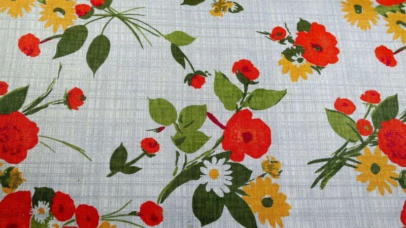 Antique Vintage Burnt Orange Poppy Yellow Tan Tweed Cotton Floral Fabric 1940