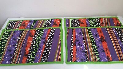 Handcrafted Machine Quilted Halloween Placemats set of four Machine Quilted Placemat