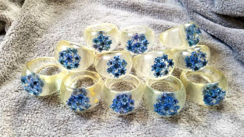 Lot Of 12 Vintage Acrylic Napkin Rings W/Blue Flowers