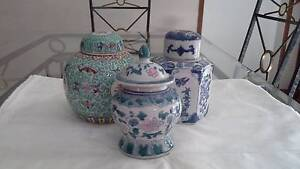 3 decorative ginger jars with lids Metford Maitland Area Preview