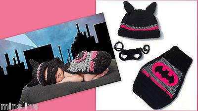 ★★★NEU Baby Fotoshooting Kostüm 3tlg. Batman Batgirl schwarz pink 0-6 Monate★★★C