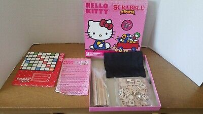 Hello Kitty Junior Scrabble Game 2-Sided Board Original box Missing Tiles.