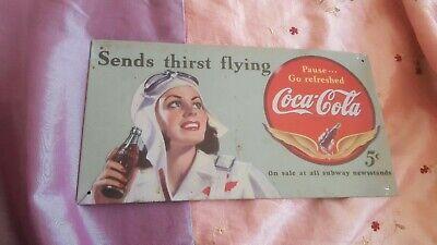 Plaque metal publicitaire vintage coca-cola /16/30